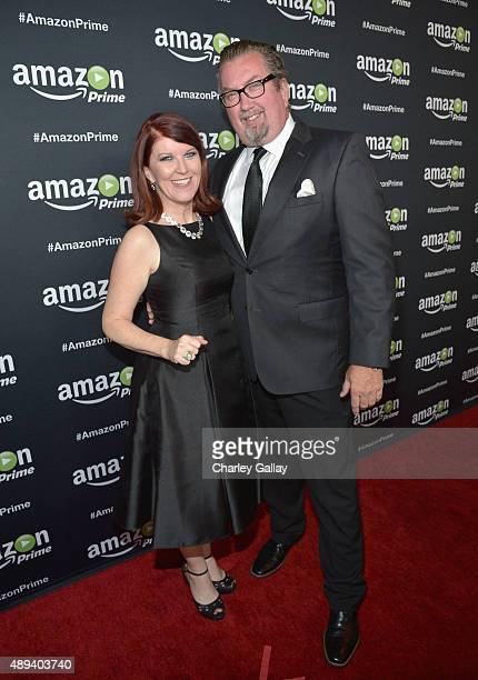 Actress Kate Flannery and photographer Chris Haston attend Amazon Prime's Emmy Celebration at The Standard Hotel on September 20 2015 in Los Angeles...