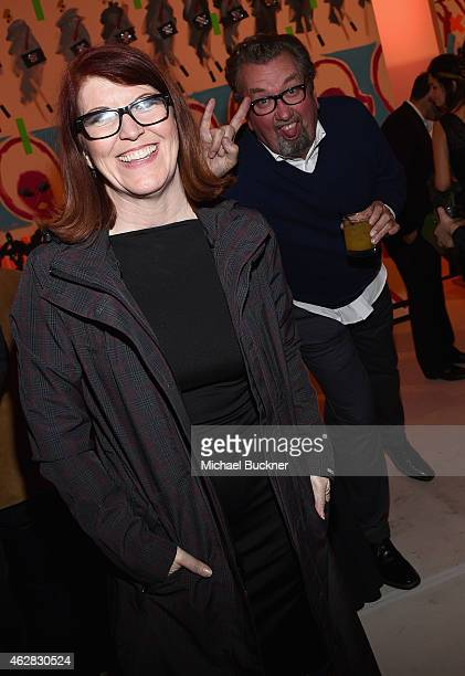 Actress Kate Flannery and photographer Chris Haston attend Smashbox Studios Celebrates Grand ReOpening at Smashbox Studios on February 5 2015 in...