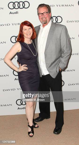 Actress Kate Flannery and photographer Chris Haston attend the Audi Kicks Off The 63rd Primetime Emmy Awards Week 2011 on September 11 2011 in Los...