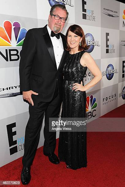 Actress Kate Flannery and photographer Chris Haston attend the Universal NBC Focus Features E sponsored by Chrysler viewing and after party with Gold...