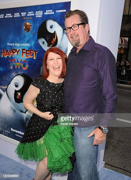 Actress Kate Flannery and photographer Chris Haston attend the Premiere of Warner Bros Pictures' Happy Feet Two at Grauman's Chinese Theatre on...