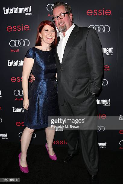 Actress Kate Flannery and photographer Chris Haston attend Entertainment Weekly Screen Actors Guild Awards PreParty at Chateau Marmont on January 26...