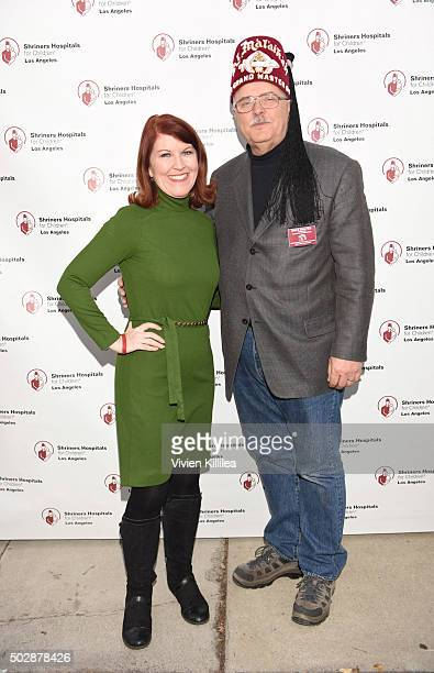 Actress Kate Flannery and Shriners Hospitals forChildren Los Angeles board chairman David R Doan attend Celebrities Decorate The Shriners Rose Parade...