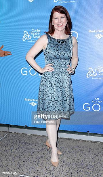 Actress Kate Flannery arrives at Opening Night of 'An Act Of God' at Ahmanson Theatre on February 10 2016 in Los Angeles California