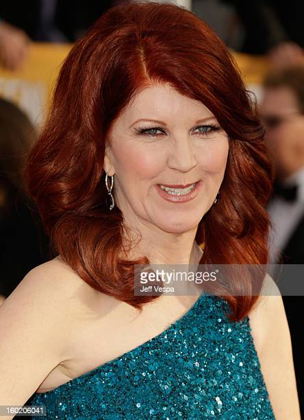 Actress Kate Flannery arrives at the 19th Annual Screen Actors Guild Awards held at The Shrine Auditorium on January 27, 2013 in Los Angeles,...