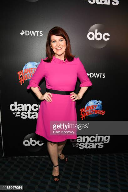 """Actress Kate Flannery arrives at the 2019 """"Dancing With The Stars"""" Cast Reveal at Planet Hollywood Times Square on August 21, 2019 in New York City."""