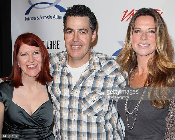 Actress Kate Flannery radio personality Adam Carolla and actress Mo Collins attend the 11th annual Comedy for a Cure at the Hollywood Roosevelt Hotel...