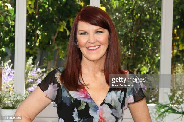 """Actress Kate Flannery visits Hallmark Channel's """"Home & Family"""" at Universal Studios Hollywood on April 05, 2021 in Universal City, California."""