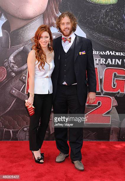 Actress Kate Gorney and actor TJ Miller arrive at the Los Angeles premiere of 'How To Train Your Dragon 2' at the Regency Village Theatre on June 8...