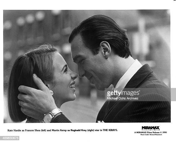 Actress Kate Hardie and actor Martin Kemp on set of the Miramax movie The Krays circa 1990