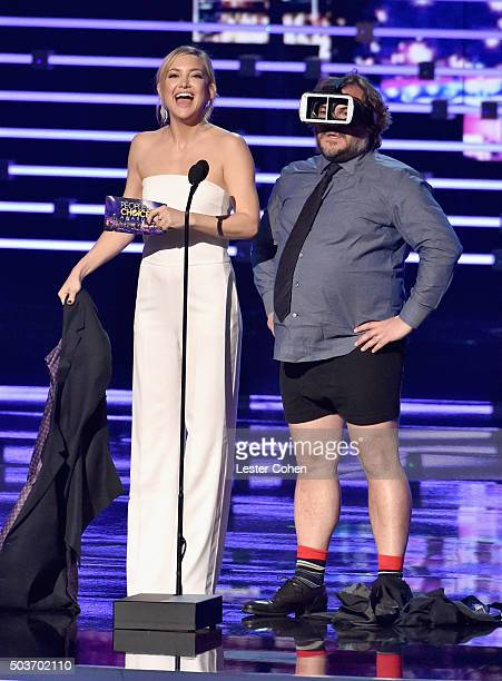 Actress Kate Hudson and actor Jack Black speak onstage during the People's Choice Awards 2016 at Microsoft Theater on January 6 2016 in Los Angeles...