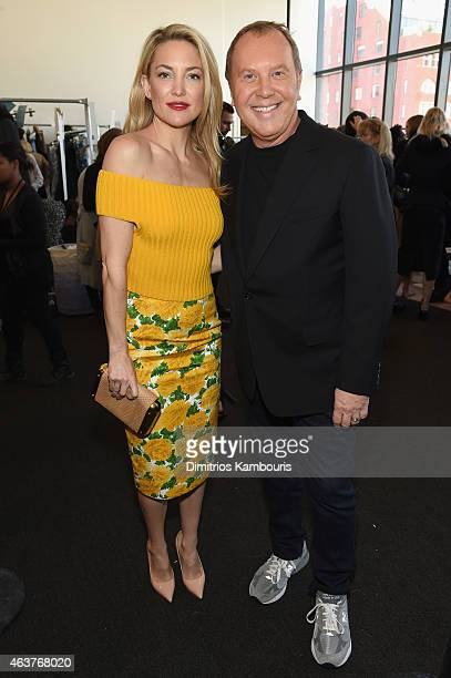 Actress Kate Hudson and designer Michael Kors pose backstage at the Michael Kors fashion show during MercedesBenz Fashion Week Fall 2015 at Spring...