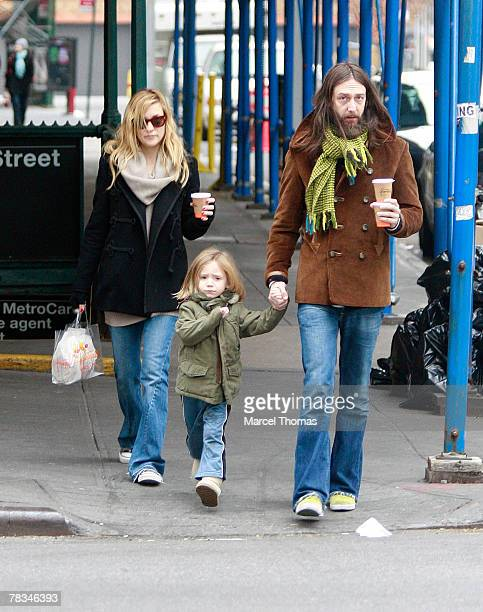 Actress Kate Hudson and ex husband musician Chris Robinson sighting walking with son Ryder Robinson in SOHO on December 09 2007 in New York City New...