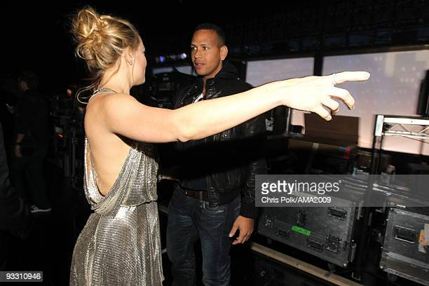 Actress Kate Hudson and professional baseball player Alex Rodriguez backstage at the 2009 American Music Awards at Nokia Theatre LA Live on November...