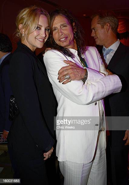 Actress Kate Hudson and Steven Tyler of Aerosmith attend the Voice Health Institute's 'Raise Your Voice' benefit at Beverly Hills Hotel on January 24...