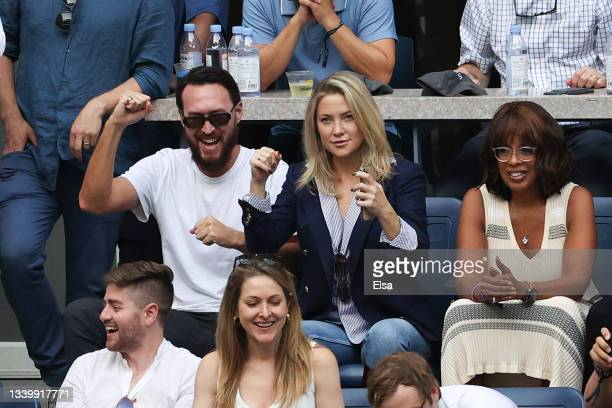 Actress Kate Hudson and tv personality Gayle King watch the Men's Singles final match between Daniil Medvedev of Russia and Novak Djokovic of Serbia...
