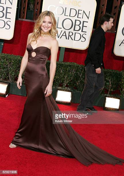 Actress Kate Hudson arrives at the 62nd Annual Golden Globe Awards at the Beverly Hilton Hotel on January 16, 2005 in Beverly Hills, California.