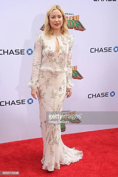 Actress Kate Hudson arrives at the premiere of 20th Century Fox's 'Kung Fu Panda 3' at TCL Chinese Theatre on January 16 2016 in Hollywood California