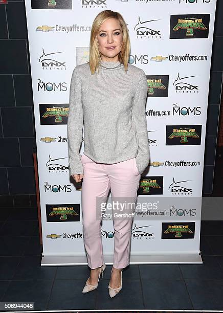 Actress Kate Hudson attends the Moms Mamarazzi 'Kung Fu Panda 3' screening at Regal Union Square Theatre Stadium 14 on January 26 2016 in New York...