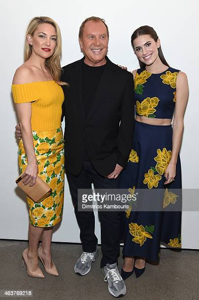 Actress Kate Hudson designer Michael Kors and actress Allison Williams pose backstage at the Michael Kors fashion show during MercedesBenz Fashion...
