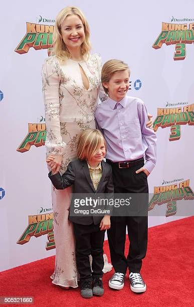 Actress Kate Hudson kids Ryder Robinson and Bingham Bellamy arrive at the premiere of 20th Century Fox's 'Kung Fu Panda 3' at TCL Chinese Theatre on...