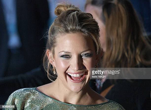 Actress Kate Hudson laughs as she arrives for the European Premiere of her latest film Fool's Gold, in London's Leicester Square on April 10, 2008....