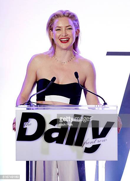 COVERAGE Actress Kate Hudson speaks onstage during The Daily Front Row 'Fashion Los Angeles Awards' 2016 at Sunset Tower Hotel on March 20 2016 in...