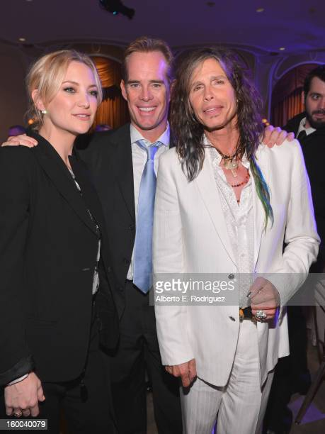 Actress Kate Hudson sportscaster Joe Buck and singer Steven Tyler attend The Voice Health Institute's Raise Your Voice benefit at the Beverly Hills...