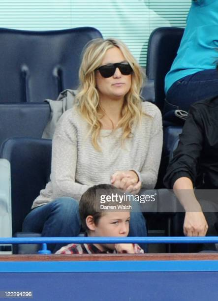 Actress Kate Hudson watches during the Barclays Premier League match between Chelsea and Norwich City at Stamford Bridge on August 27 2011 in London...