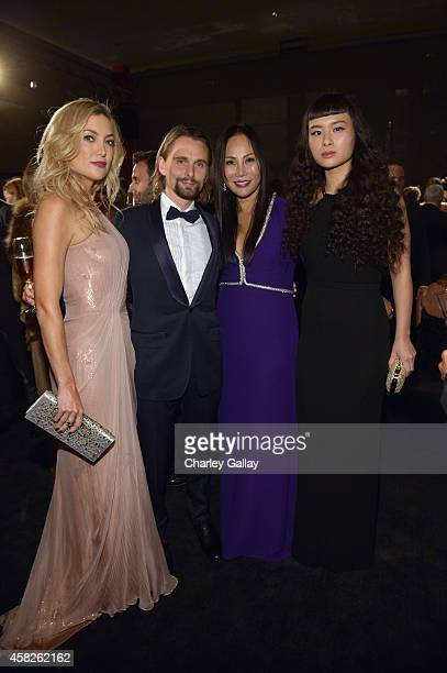 Actress Kate Hudson wearing Gucci musician Matthew Bellamy wearing Gucci LACMA Trustee and Art Film Gala CoChair Eva Chow wearing Gucci and actress...