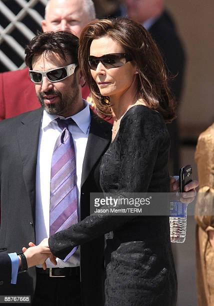 Actress Kate Jackson attends Farrah Fawcett's funeral service held at the Cathedral of Our Lady of the Angels on June 30 2009 in Los Angeles...