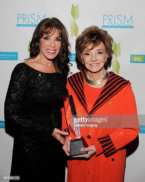 Actress Kate Linder and actress Peggy McCay recipient of the award for daytime drama storyline for 'Days of our Lives' attend the 17th Annual PRISM...
