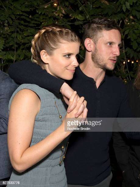 Actress Kate Mara and husband Jamie Bell are hand in hand at the Haute Living Celebrates Kate Mara with Westime cover party on August 7 2017 in Los...