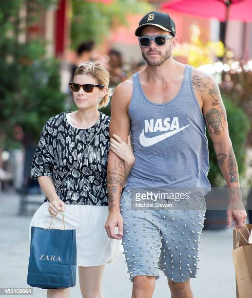 Actress Kate Mara and stylist Johnny Wujek seen on the streets of Manhattan on August 9 2014 in New York City