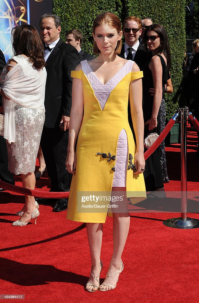 Actress Kate Mara arrives at the 2014 Creative Arts Emmy Awards at Nokia Theatre L.A. Live on August 16, 2014 in Los Angeles, California.