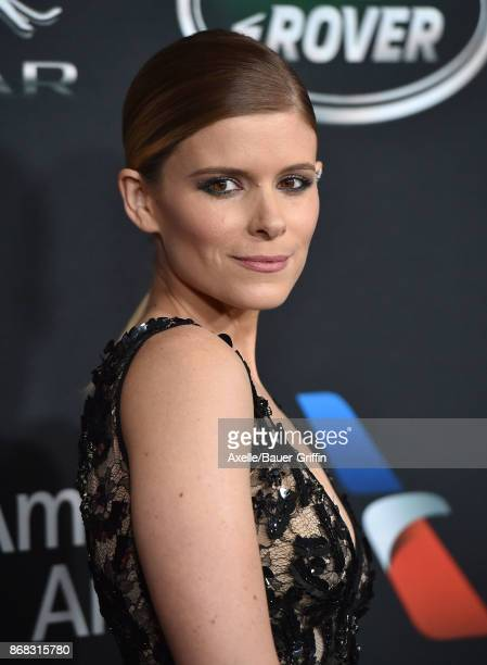 Actress Kate Mara arrives at the 2017 AMD British Academy Britannia Awards at The Beverly Hilton Hotel on October 27, 2017 in Beverly Hills,...