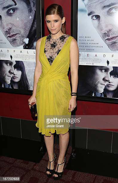 Actress Kate Mara arrives at the Deadfall Los Angeles premiere at ArcLight Hollywood on November 29 2012 in Hollywood California