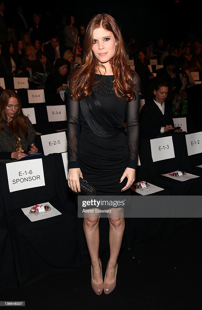 Actress Kate Mara attends the Badgley Mischka Fall 2012 fashion show during Mercedes-Benz Fashion Week at The Theatre at Lincoln Center on February 14, 2012 in New York City.