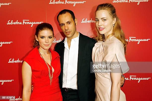 Actress Kate Mara, Ferragamo designer Massimiliano Giornetti and actress Melissa George attend the Ferragamo event with Debi Mazar and Adrian Grenier...