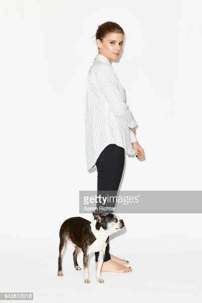 Actress Kate Mara is photographed with her dog Bruno for New York Times on March 20 2018 in New York City PUBLISHED IMAGE