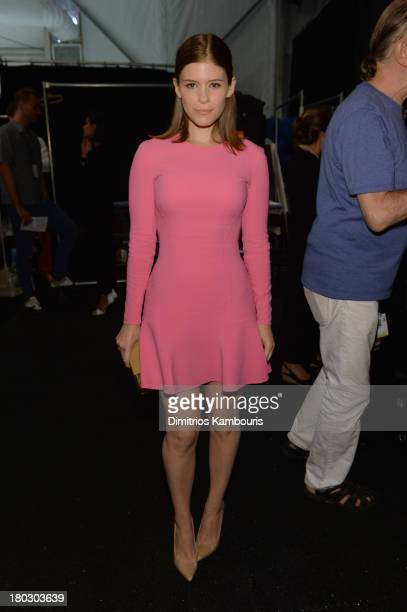 Actress Kate Mara poses backstage at the Michael Kors fashion show during MercedesBenz Fashion Week Spring 2014 at The Theatre at Lincoln Center on...