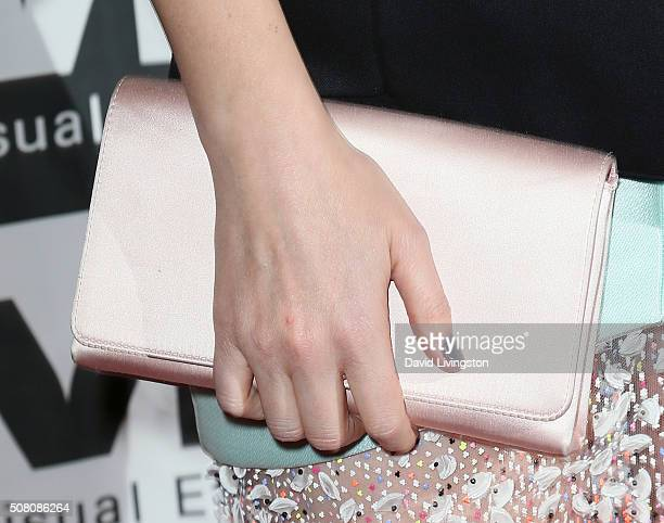 Actress Kate Mara purse detail attends the 14th Annual VES Awards at The Beverly Hilton Hotel on February 2 2016 in Beverly Hills California