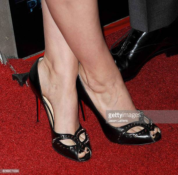 Actress Kate Mara shoe detail attends the premiere of 'Man Down' at ArcLight Hollywood on November 30 2016 in Hollywood California