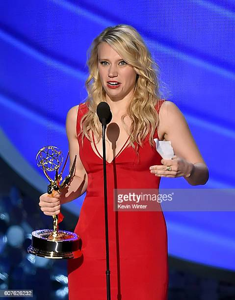 Actress Kate McKinnon accepts Outstanding Supporting Actress in a Comedy Series for 'Saturday Night Live' onstage during the 68th Annual Primetime...