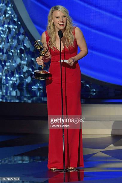 Actress Kate McKinnon accepts the Outstanding Supporting Actress in a Comedy Series award for 'Saturday Night Live' onstage during the 68th Annual...