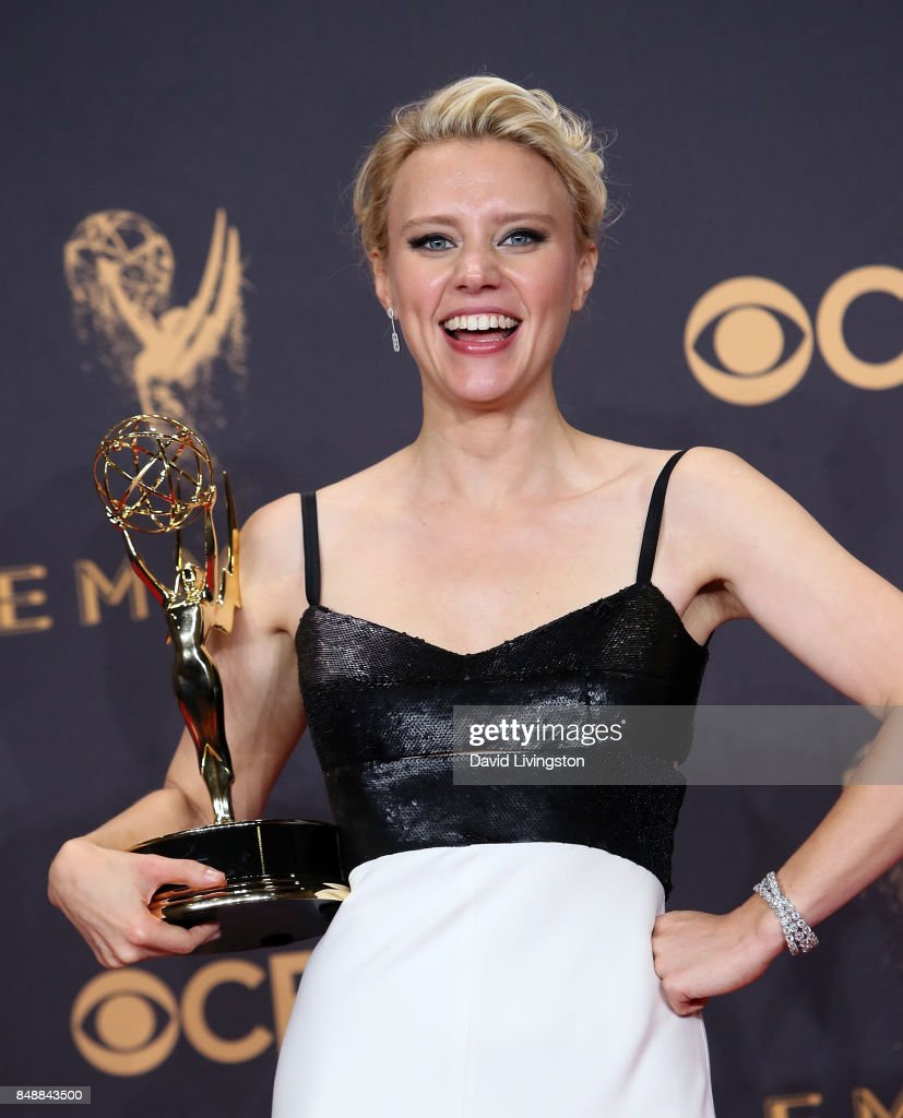 Actress Kate McKinnon, winner of Outstanding Supporting Actress in a Comedy Series for 'Saturday Night Live', poses in the press room during the 69th Annual Primetime Emmy Awards at Microsoft Theater on September 17, 2017 in Los Angeles, California.