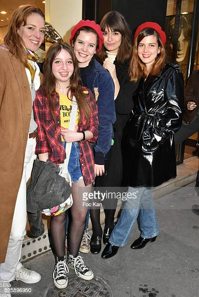 Actress Kate Moran Rose Lesage her sister actress Lou Lesage singers Clara Luciani and Singer Leonie Popo attend the 'As Hard' Pierre Emery Paintings...