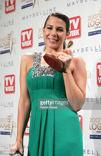 Actress Kate Ritchie poses with the TV Week Gold Logie award for Most Popular Personlity on TV backstage at the 2007 TV Week Logie Awards at the...