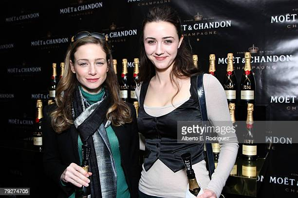 Actress Kate Towne and actress Madeline Zima attend the Moet Chandon suite at The Luxury Lounge in honor of the 2008 SAG Awards held at the Four...