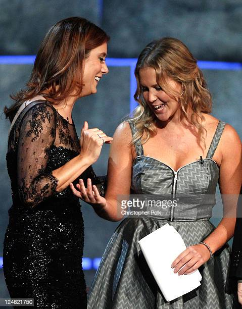 Actress Kate Walsh and comedian Amy Schumer onstage at Comedy Central's Roast of Charlie Sheen held at Sony Studios on September 10 2011 in Los...
